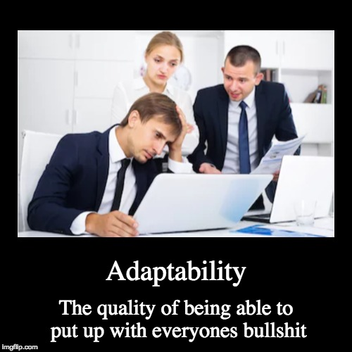 Adaptability | The quality of being able to put up with everyones bullshit | image tagged in funny,demotivationals | made w/ Imgflip demotivational maker