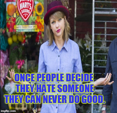 ONCE PEOPLE DECIDE THEY HATE SOMEONE THEY CAN NEVER DO GOOD. | made w/ Imgflip meme maker