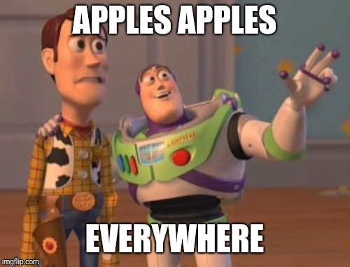 X, X Everywhere Meme | APPLES APPLES EVERYWHERE | image tagged in memes,x x everywhere | made w/ Imgflip meme maker