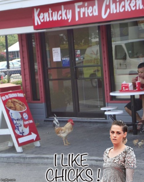 Who doesn't ? | I LIKE CHICKS ! | image tagged in kfc chicken,kristen stewart,animals,food porn,memes | made w/ Imgflip meme maker