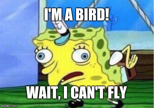 Mocking Spongebob Meme | I'M A BIRD! WAIT, I CAN'T FLY | image tagged in memes,mocking spongebob | made w/ Imgflip meme maker