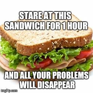 Don't tell me it's dumb. I hate when people tell me things I already know. At least it's not racist or sexist like some memes. | STARE AT THIS SANDWICH FOR 1 HOUR AND ALL YOUR PROBLEMS WILL DISAPPEAR | image tagged in sandwich | made w/ Imgflip meme maker