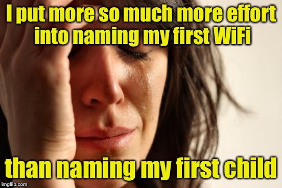 First World Problems Meme | I put more so much more effort into naming my first WiFi than naming my first child | image tagged in memes,first world problems | made w/ Imgflip meme maker