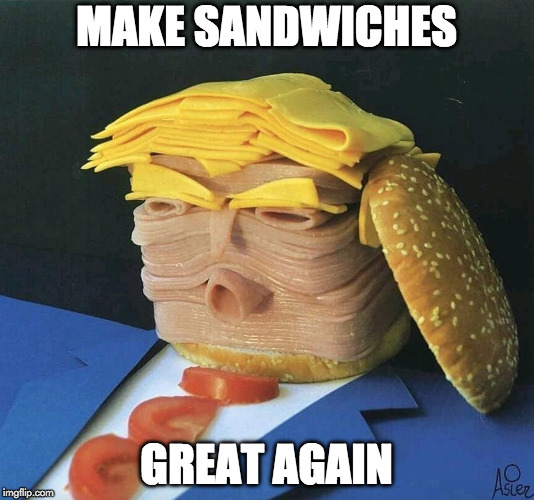 Nice! | MAKE SANDWICHES GREAT AGAIN | image tagged in donald trump,sandwich,make america great again | made w/ Imgflip meme maker