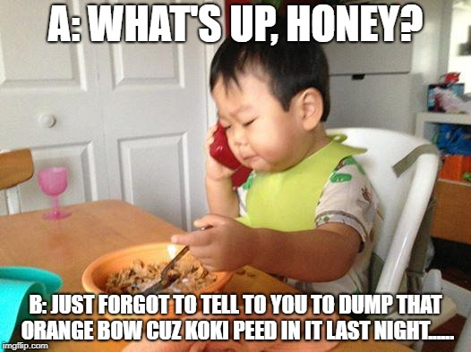 No Bullshit Business Baby | A: WHAT'S UP, HONEY? B: JUST FORGOT TO TELL TO YOU TO DUMP THAT ORANGE BOW CUZ KOKI PEED IN IT LAST NIGHT...... | image tagged in memes,no bullshit business baby | made w/ Imgflip meme maker