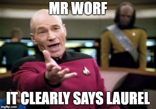 Picard Wtf Meme | MR WORF IT CLEARLY SAYS LAUREL | image tagged in memes,picard wtf | made w/ Imgflip meme maker