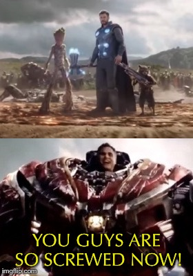 When your backup finally arrives |  YOU GUYS ARE SO SCREWED NOW! | image tagged in infinity war,avengers infinity war,bruce banner,incredible hulk,thor,screwed | made w/ Imgflip meme maker