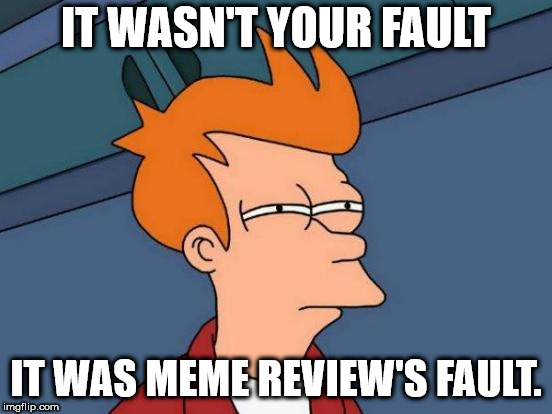 Futurama Fry Meme | IT WASN'T YOUR FAULT IT WAS MEME REVIEW'S FAULT. | image tagged in memes,futurama fry | made w/ Imgflip meme maker
