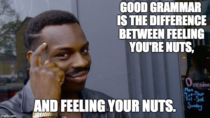 Roll Safe Think About It | GOOD GRAMMAR IS THE DIFFERENCE BETWEEN FEELING YOU'RE NUTS, AND FEELING YOUR NUTS. | image tagged in memes,roll safe think about it | made w/ Imgflip meme maker
