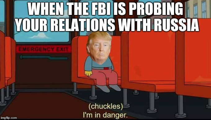Trumpie's in danger | WHEN THE FBI IS PROBING YOUR RELATIONS WITH RUSSIA | image tagged in im in danger | made w/ Imgflip meme maker