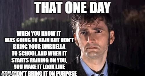 doctor who rain | THAT ONE DAY WHEN YOU KNOW IT WAS GOING TO RAIN BUT DON'T BRING YOUR UMBRELLA TO SCHOOL AND WHEN IT STARTS RAINING ON YOU, YOU MAKE IT LOOK  | image tagged in doctor who rain | made w/ Imgflip meme maker