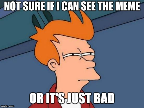 NOT SURE IF I CAN SEE THE MEME OR IT'S JUST BAD | image tagged in memes,futurama fry | made w/ Imgflip meme maker