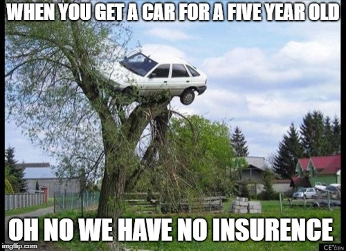 Secure Parking Meme | WHEN YOU GET A CAR FOR A FIVE YEAR OLD OH NO WE HAVE NO INSURENCE | image tagged in memes,secure parking | made w/ Imgflip meme maker