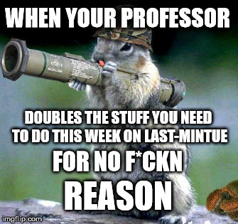 Bazooka Squirrel | WHEN YOUR PROFESSOR DOUBLES THE STUFF YOU NEED TO DO THIS WEEK ON LAST-MINTUE FOR NO F*CKN REASON | image tagged in memes,bazooka squirrel | made w/ Imgflip meme maker