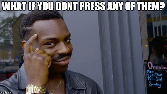 for that meme with the two buttons and the sweating guy | WHAT IF YOU DONT PRESS ANY OF THEM? | image tagged in memes,roll safe think about it | made w/ Imgflip meme maker