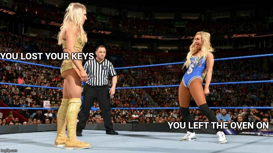 YOU LOST YOUR KEYS YOU LEFT THE OVEN ON | image tagged in wwe divas | made w/ Imgflip meme maker