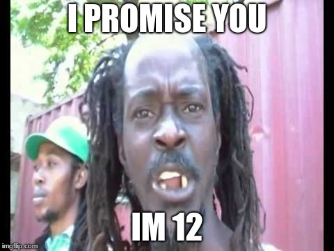 I PROMISE YOU IM 12 | image tagged in angry jamaican | made w/ Imgflip meme maker