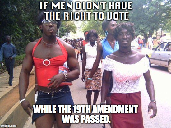 IF MEN DIDN'T HAVE THE RIGHT TO VOTE WHILE THE 19TH AMENDMENT WAS PASSED. | image tagged in trans | made w/ Imgflip meme maker
