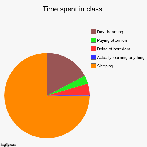 Time spent in class | Sleeping, Actually learning anything, Dying of boredom, Paying attention, Day dreaming | image tagged in funny,pie charts | made w/ Imgflip pie chart maker