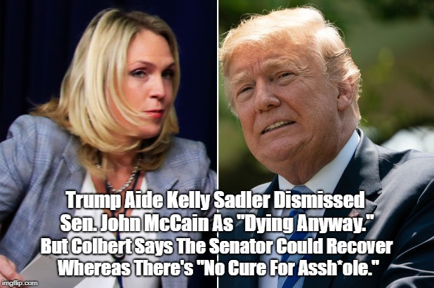 "Trump Aide Kelly Sadler Dismissed Sen. John McCain As ""Dying Anyway."" But Colbert Says The Senator Could Recover Whereas There's ""No Cure Fo 