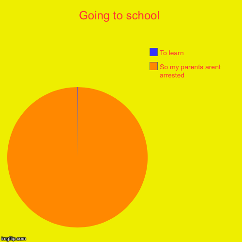 True tho | Going to school | So my parents arent arrested, To learn | image tagged in funny,pie charts,school,arrested,parents,denk mames | made w/ Imgflip chart maker