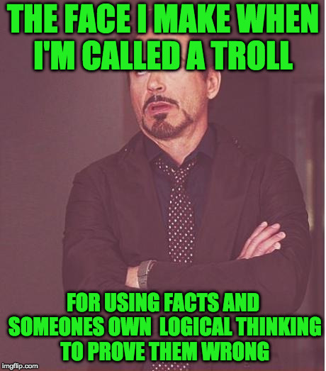 Face You Make Robert Downey Jr Meme | THE FACE I MAKE WHEN I'M CALLED A TROLL FOR USING FACTS AND SOMEONES OWN  LOGICAL THINKING TO PROVE THEM WRONG | image tagged in memes,face you make robert downey jr | made w/ Imgflip meme maker
