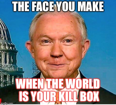 THE FACE YOU MAKE WHEN THE WORLD IS YOUR KILL BOX | image tagged in the face you make,sessions,qanon,trump,patriotsfight,wwg1wga | made w/ Imgflip meme maker