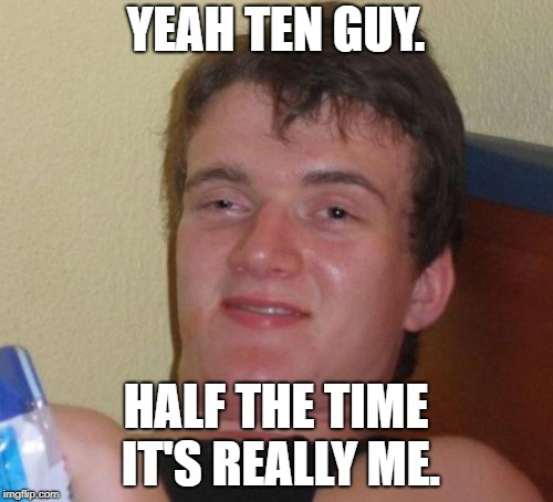 10 Guy Meme | YEAH TEN GUY. HALF THE TIME IT'S REALLY ME. | image tagged in memes,10 guy | made w/ Imgflip meme maker