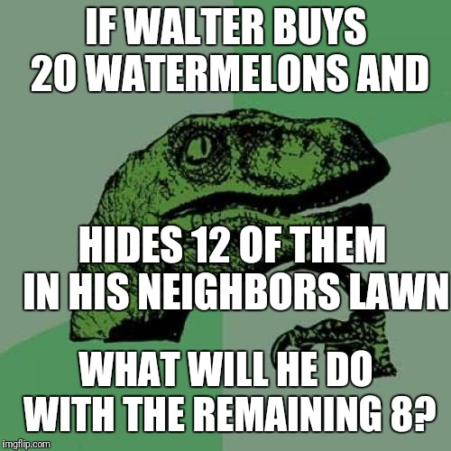 Philosoraptor Meme | IF WALTER BUYS 20 WATERMELONS AND WHAT WILL HE DO WITH THE REMAINING 8? HIDES 12 OF THEM IN HIS NEIGHBORS LAWN | image tagged in memes,philosoraptor | made w/ Imgflip meme maker