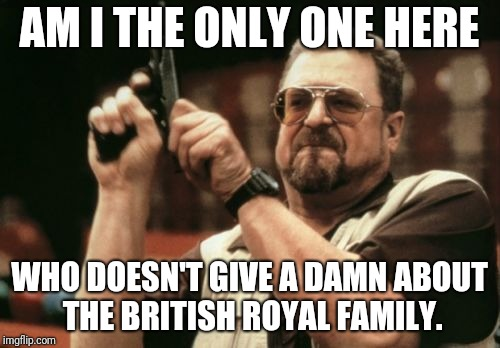 Am I The Only One Around Here Meme | AM I THE ONLY ONE HERE WHO DOESN'T GIVE A DAMN ABOUT THE BRITISH ROYAL FAMILY. | image tagged in memes,am i the only one around here | made w/ Imgflip meme maker