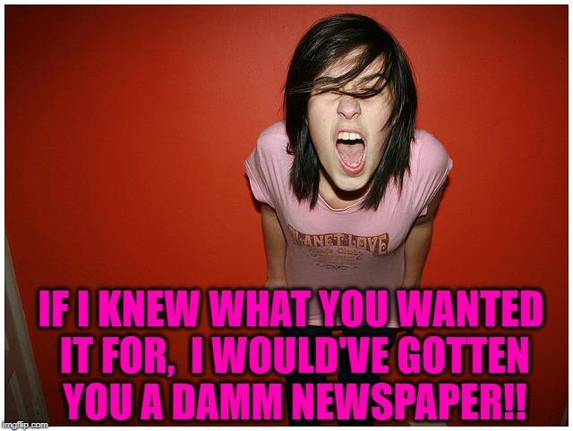 IF I KNEW WHAT YOU WANTED IT FOR,  I WOULD'VE GOTTEN YOU A DAMM NEWSPAPER!! | made w/ Imgflip meme maker