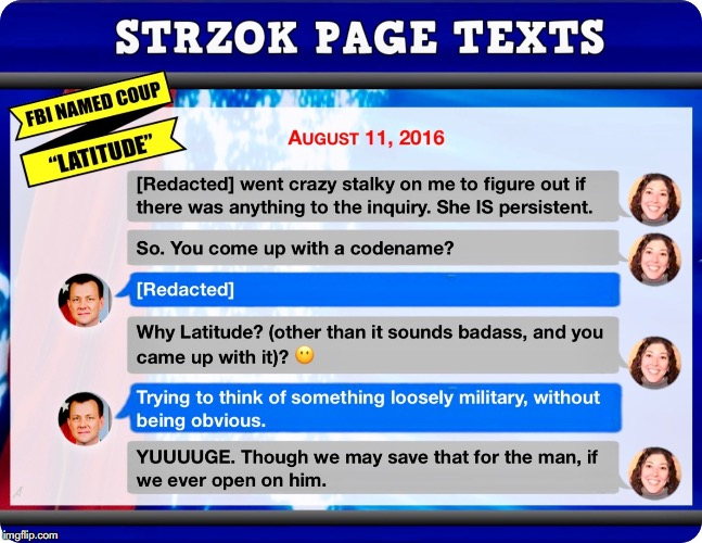 Peter Strzok Lisa Page Code Name Coup CrossFire Hurricane Latitude - Robert Mueller Meme | image tagged in fbi,peter strzok,robert mueller,coup,donald trump,text messages | made w/ Imgflip meme maker