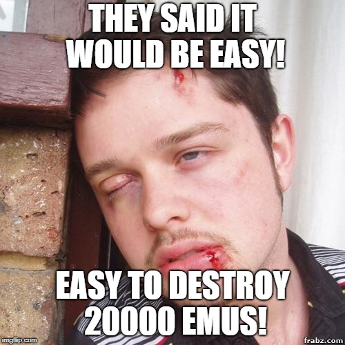They said | THEY SAID IT WOULD BE EASY! EASY TO DESTROY 20000 EMUS! | image tagged in they said | made w/ Imgflip meme maker