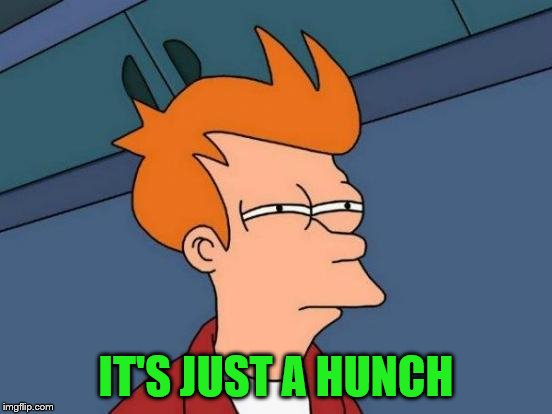 Futurama Fry Meme | IT'S JUST A HUNCH | image tagged in memes,futurama fry | made w/ Imgflip meme maker