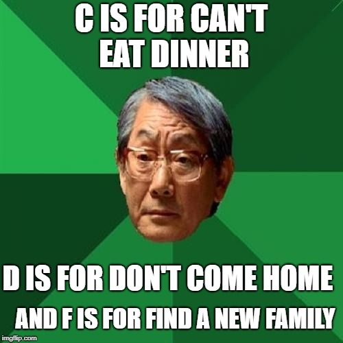 C IS FOR CAN'T EAT DINNER D IS FOR DON'T COME HOME AND F IS FOR FIND A NEW FAMILY | made w/ Imgflip meme maker