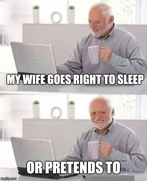 MY WIFE GOES RIGHT TO SLEEP OR PRETENDS TO | made w/ Imgflip meme maker