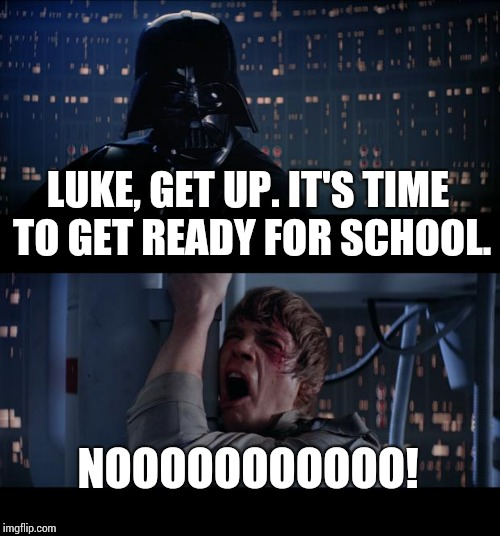 This is what happens almost every morning in my house. | LUKE, GET UP. IT'S TIME TO GET READY FOR SCHOOL. NOOOOOOOOOOO! | image tagged in memes,star wars no,school,noooooooooooooooooooooooo | made w/ Imgflip meme maker