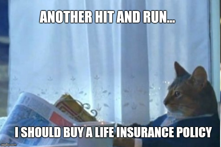 ANOTHER HIT AND RUN... I SHOULD BUY A LIFE INSURANCE POLICY | made w/ Imgflip meme maker