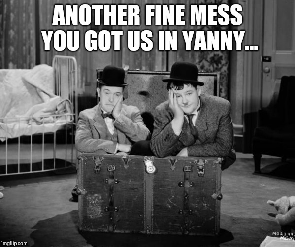 ANOTHER FINE MESS YOU GOT US IN YANNY... | image tagged in laurel hardy | made w/ Imgflip meme maker