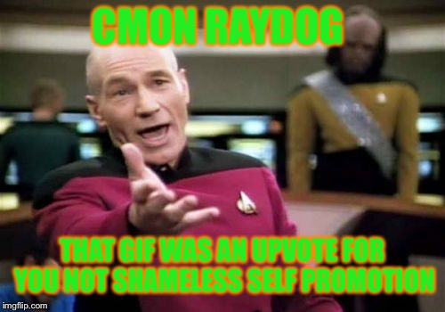 Picard Wtf Meme | CMON RAYDOG THAT GIF WAS AN UPVOTE FOR YOU NOT SHAMELESS SELF PROMOTION | image tagged in memes,picard wtf | made w/ Imgflip meme maker