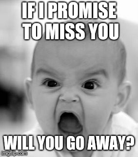 Sometimes I Feel Too Connected | IF I PROMISE TO MISS YOU WILL YOU GO AWAY? | image tagged in memes,angry baby | made w/ Imgflip meme maker