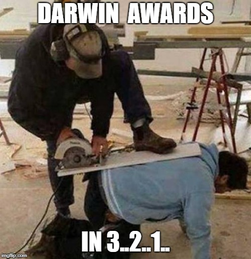 how stupid can you be? | DARWIN  AWARDS IN 3..2..1.. | image tagged in darwin award,memes | made w/ Imgflip meme maker