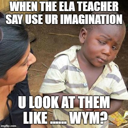 Third World Skeptical Kid Meme | WHEN THE ELA TEACHER SAY USE UR IMAGINATION U LOOK AT THEM LIKE ...... WYM? | image tagged in memes,third world skeptical kid | made w/ Imgflip meme maker