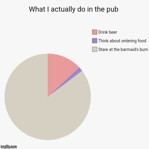 Created for the lovely Jess who got me drunk this afternoon. | What I actually do in the pub | Stare at the barmaid's bum, Think about ordering food, Drink beer | image tagged in funny,pie charts | made w/ Imgflip pie chart maker