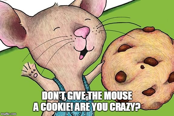 don't give a mouse a cookie | DON'T GIVE THE MOUSE A COOKIE! ARE YOU CRAZY? | image tagged in mouse,cookie | made w/ Imgflip meme maker