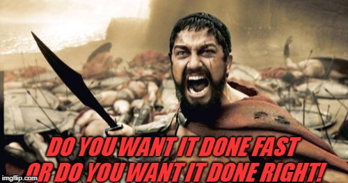 Sparta Leonidas Meme | DO YOU WANT IT DONE FAST OR DO YOU WANT IT DONE RIGHT! | image tagged in memes,sparta leonidas | made w/ Imgflip meme maker