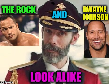 They could be twins! :) | THE ROCK DWAYNE JOHNSON AND LOOK ALIKE | image tagged in captain obvious,dwayne johnson,the rock,look alikes | made w/ Imgflip meme maker