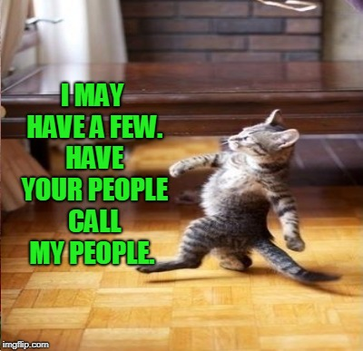 I MAY HAVE A FEW. HAVE YOUR PEOPLE CALL MY PEOPLE. | made w/ Imgflip meme maker