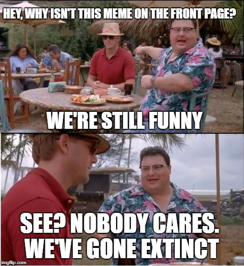 See Nobody Cares Meme | HEY, WHY ISN'T THIS MEME ON THE FRONT PAGE? WE'RE STILL FUNNY SEE? NOBODY CARES. WE'VE GONE EXTINCT | image tagged in memes,see nobody cares | made w/ Imgflip meme maker