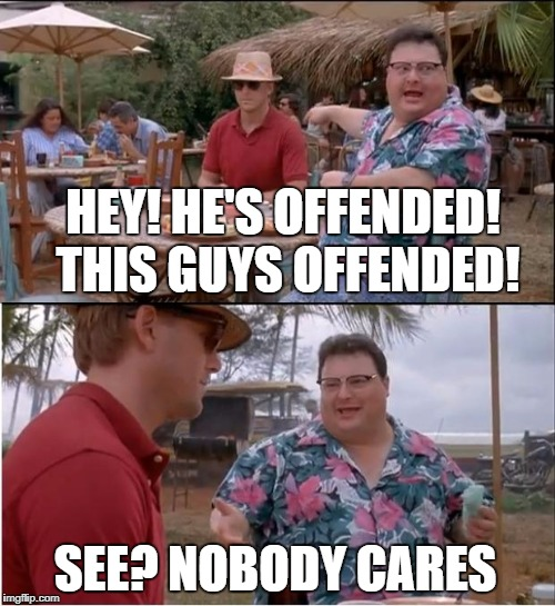 See Nobody Cares Meme | HEY! HE'S OFFENDED! THIS GUYS OFFENDED! SEE? NOBODY CARES | image tagged in memes,see nobody cares | made w/ Imgflip meme maker